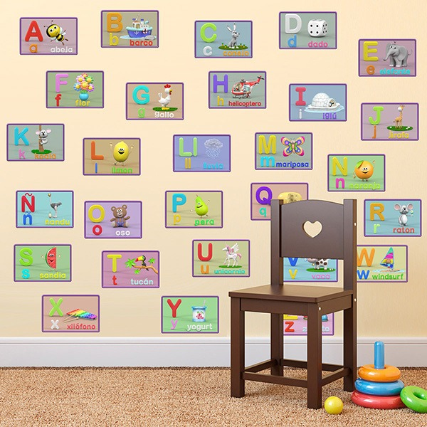 Stickers for Kids: Kid alphabet with individual letters