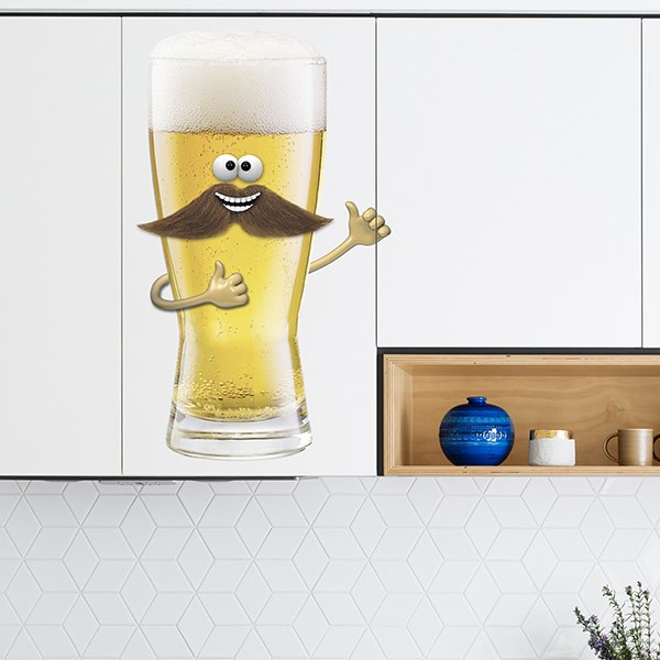 Stickers for Kids: Beer with moustache