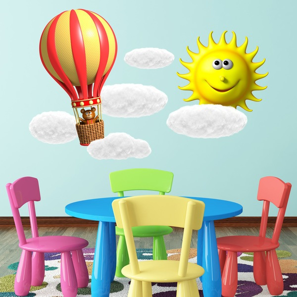 Stickers for Kids: Little bear in balloon, sun and clouds