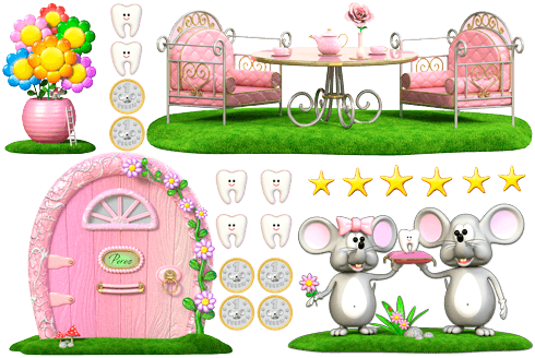 Stickers for Kids: Kit Tooth Fairy (Mouse Pérez) Pink 0
