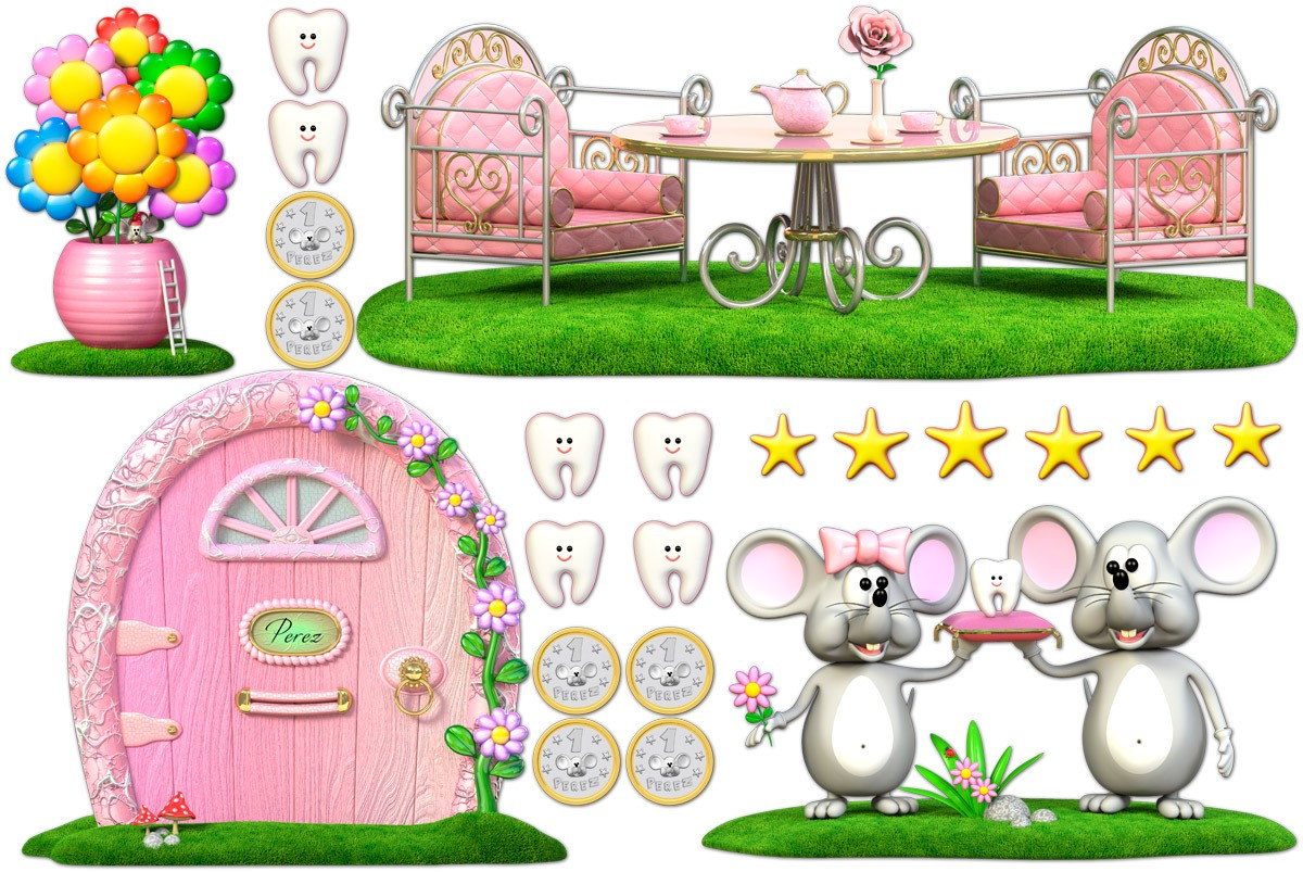 Stickers for Kids: Kit Tooth Fairy (Mouse Pérez) Pink