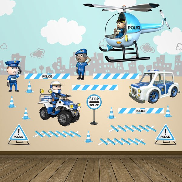 Stickers for Kids: Police kit with helicopter