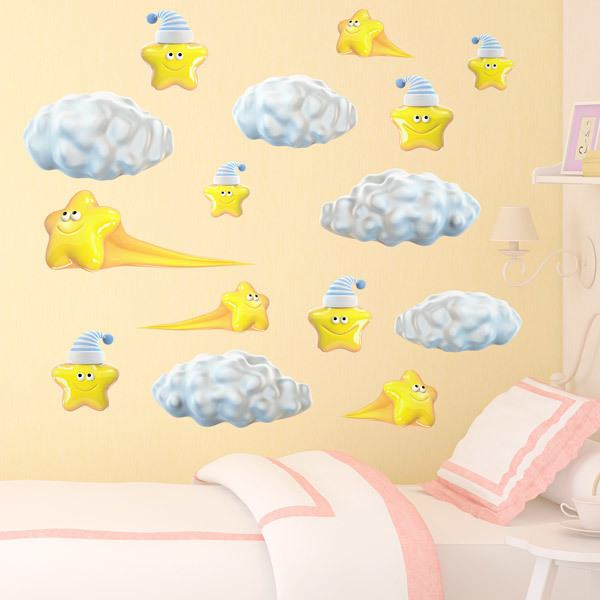 Stickers for Kids: Kit clouds and shooting stars