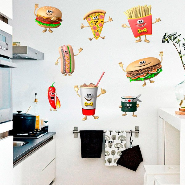 Wall Stickers: Set 8X Fast Food