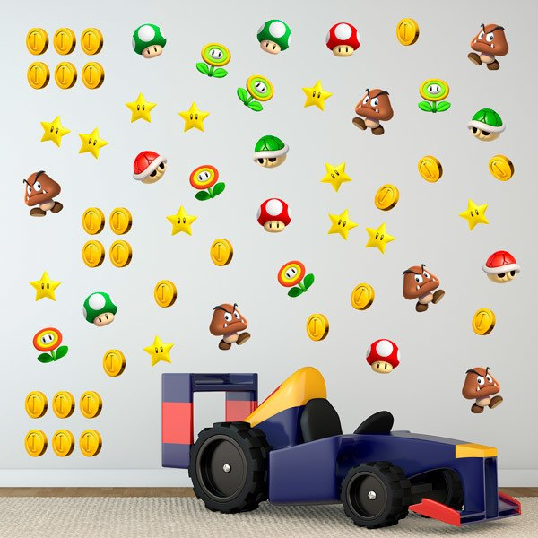 Stickers for Kids: Set 60X Mario Bros Characters and Coins