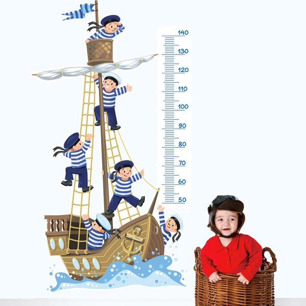 Stickers for Kids: Height Chart Boat and cabin boys