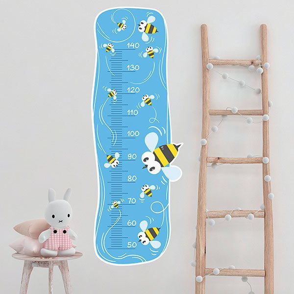 Stickers for Kids: Height Chart bees in the sky
