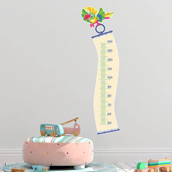 Stickers for Kids: Height Chart Flying parrot