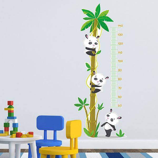 Stickers for Kids: Grow Chart Pandas in palm tree