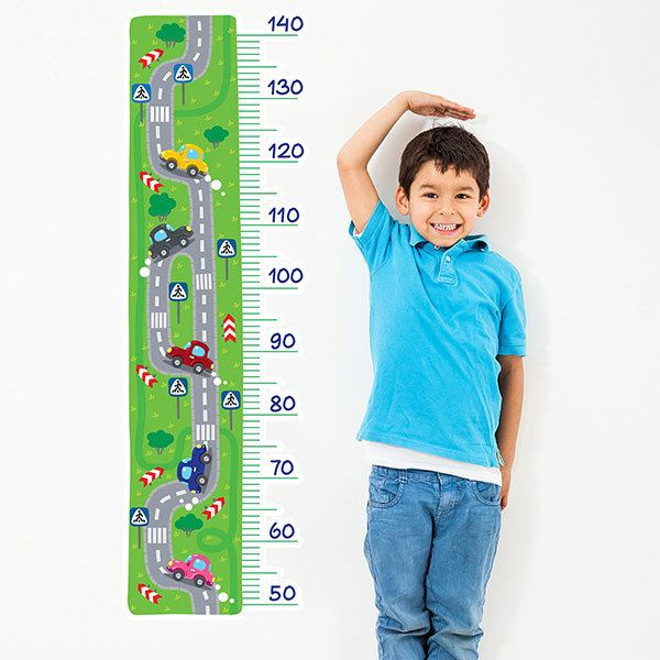 Stickers for Kids: Height Chart Cars on the road