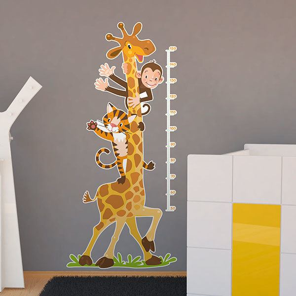 Stickers for Kids: Height Chart Giraffe, monkey and tiger