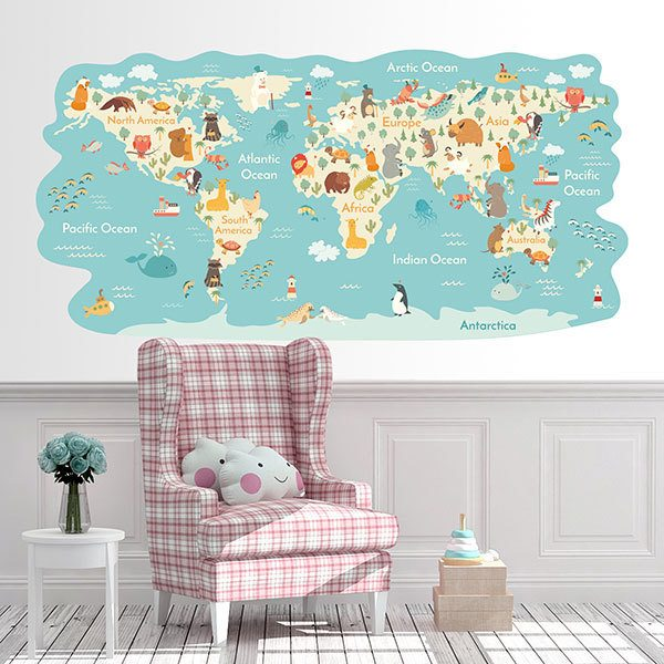 Stickers for Kids: World map Animals around the world