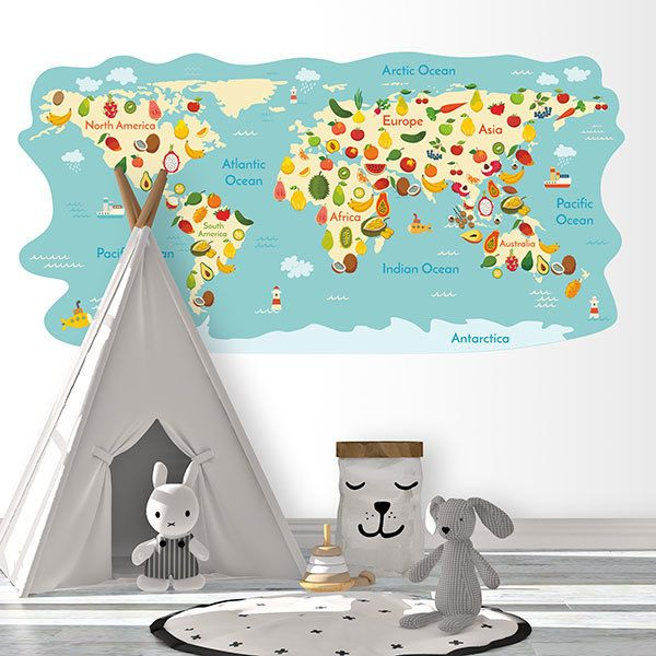 Stickers for Kids: World Map of fruits
