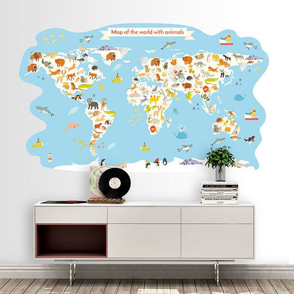 Stickers for Kids: World map with animals
