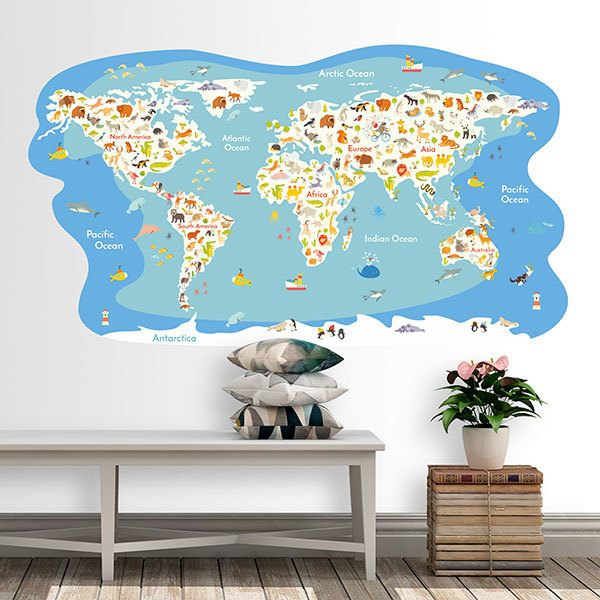 Stickers for Kids: World Map Oceans and animals