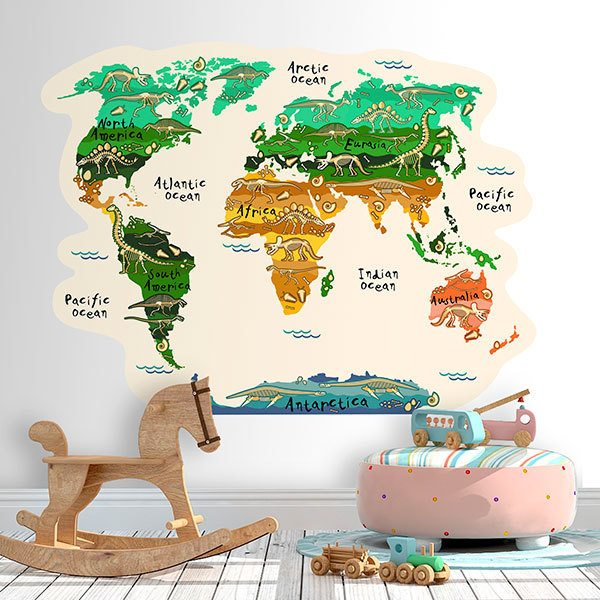Kids Wall Sticker World Map Continents And Dinosaurs Muraldecal Com