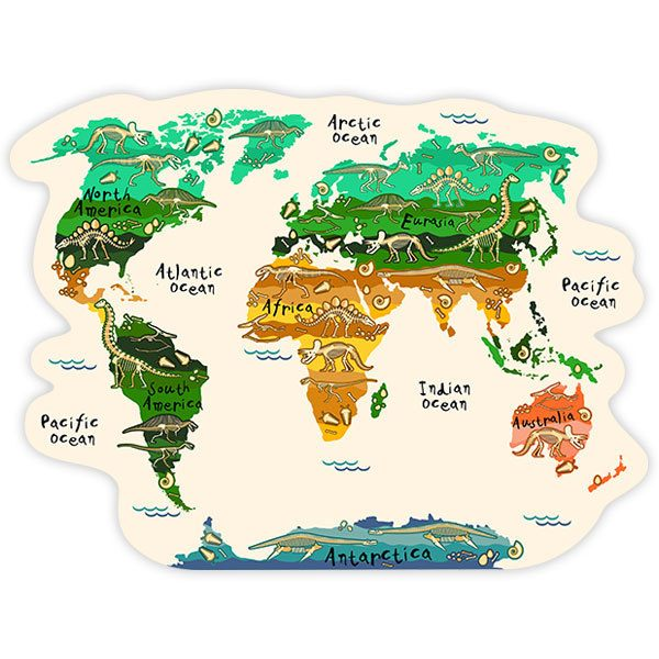 Kids wall sticker World map continents and dinosaurs | MuralDecal.com
