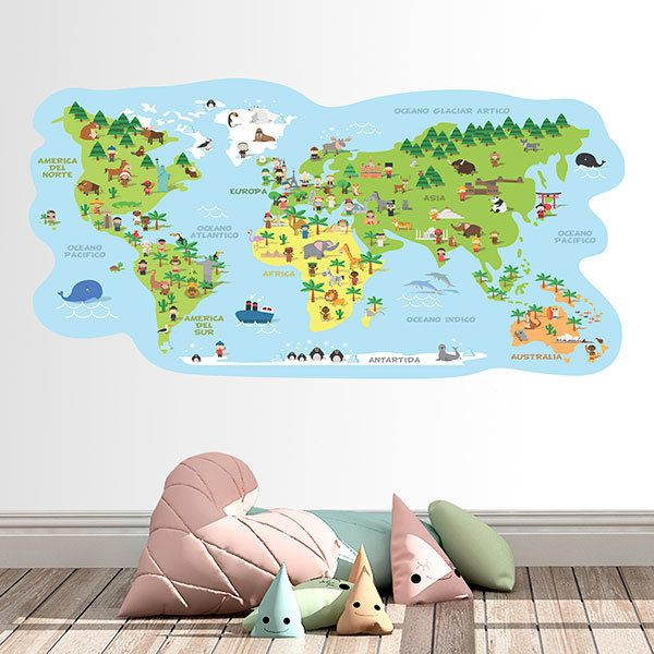 Stickers for Kids: World map typical costumes