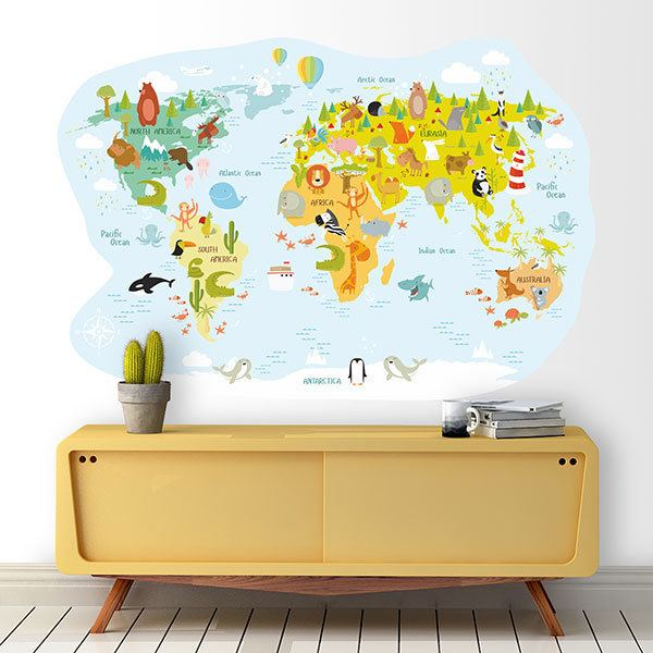 Stickers for Kids: World map of famous animals