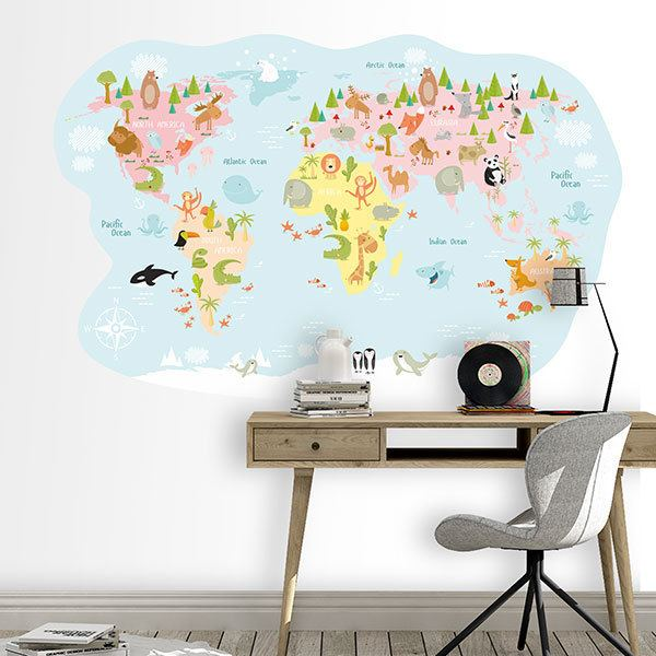 Kids Wall Sticker World Map Animals Pastel Muraldecal Com