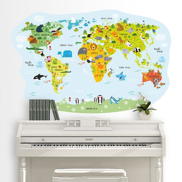 Stickers for Kids: World map cheerful animals