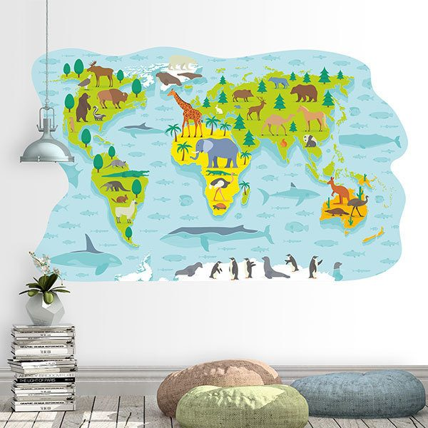 Stickers for Kids: World map of main animalsWorld map of typical anim