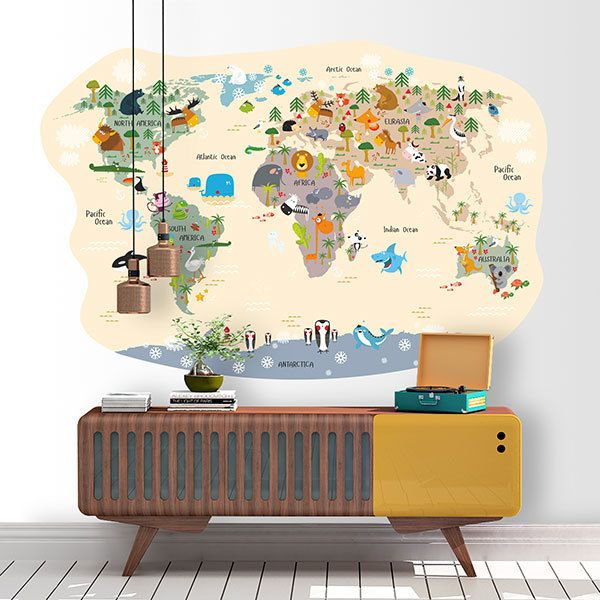 Stickers for Kids: World map funny animals