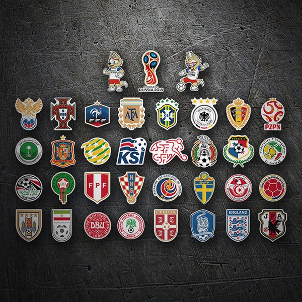 Car & Motorbike Stickers: Russia World Shields Kit 2018