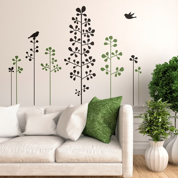 Wall Stickers: Floral shrubs and birds