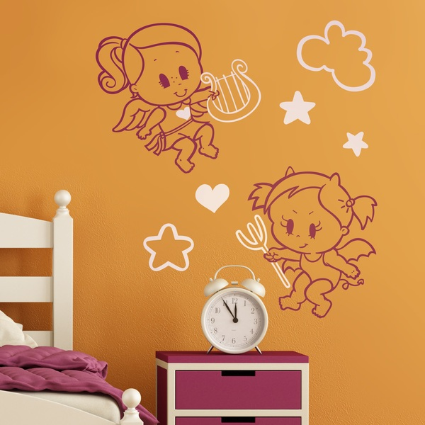 Stickers for Kids: Multicolour Angel y Demonio