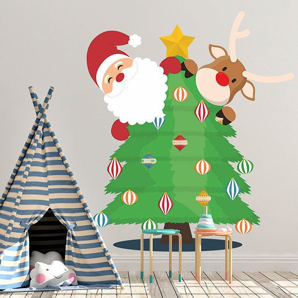 Wall Stickers: Santa Claus and Rudolph in the tree 1