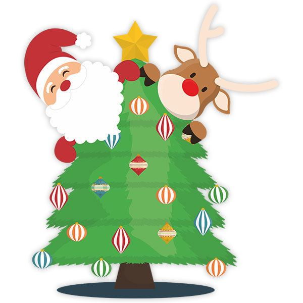 Wall Stickers: Santa Claus and Rudolph in the tree