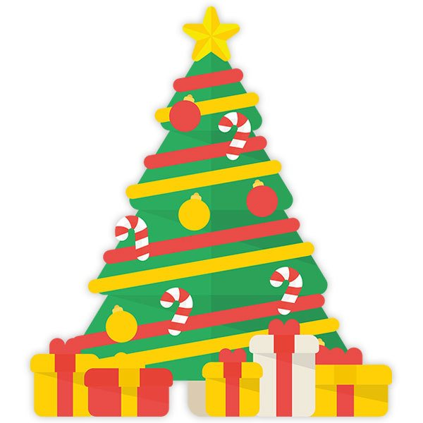 Wall Stickers: Christmas tree with gifts