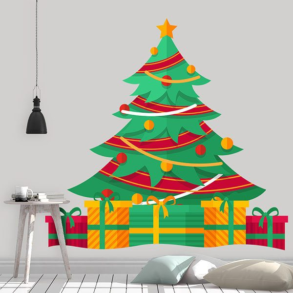 Wall Stickers: Tree with Christmas gifts