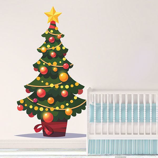 Wall Stickers: Tree with Christmas decoration