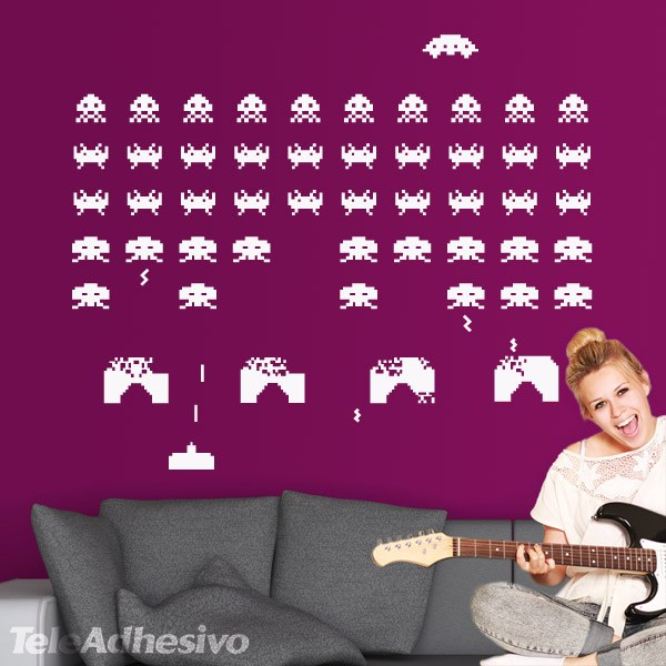 space invaders space invaders wall stickers by the binary box