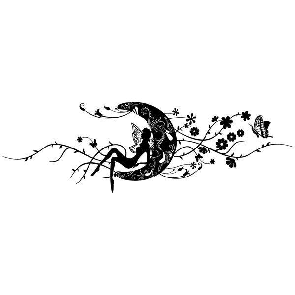 Wall Stickers: Magic fairy over the floral moon