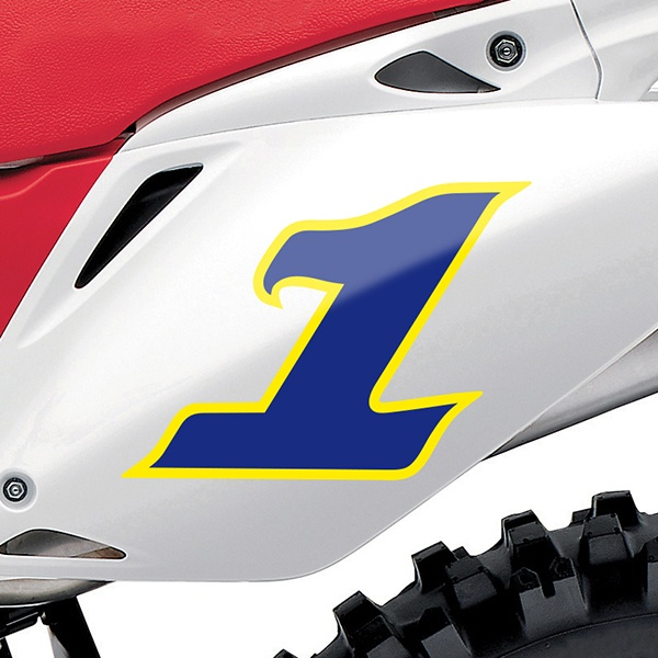 Car & Motorbike Stickers: Number 1 dark blue and yellow