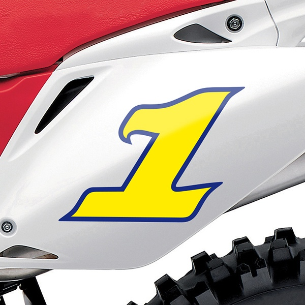Car & Motorbike Stickers: Number 1 yellow and dark blue