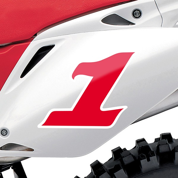 Car & Motorbike Stickers: Number 1 red and white