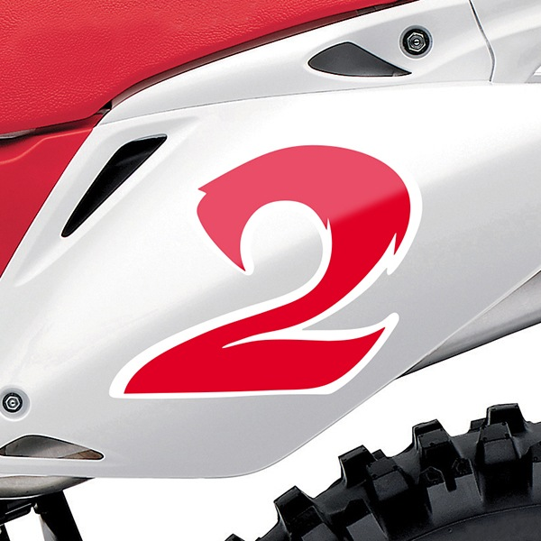 Car & Motorbike Stickers: Number 2 red and white