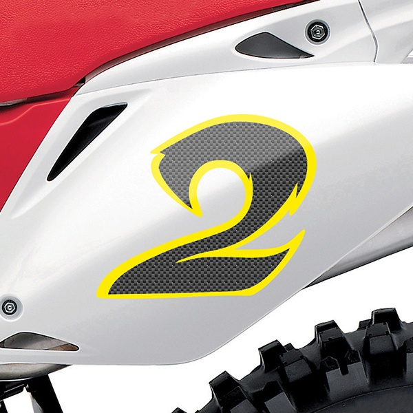 Car & Motorbike Stickers: Number 2 carbon fiber