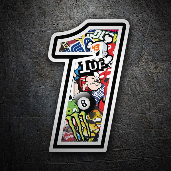 Car & Motorbike Stickers: Number 1 Stickerbomb