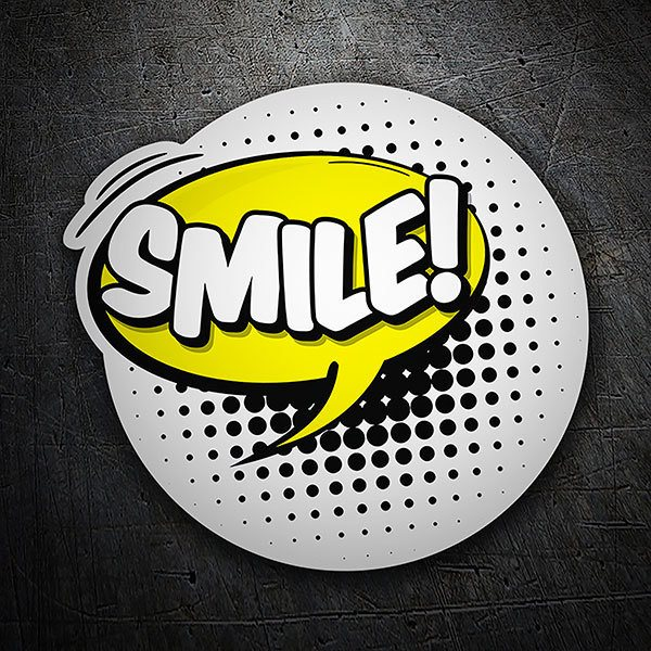 Car & Motorbike Stickers: SMILE! white