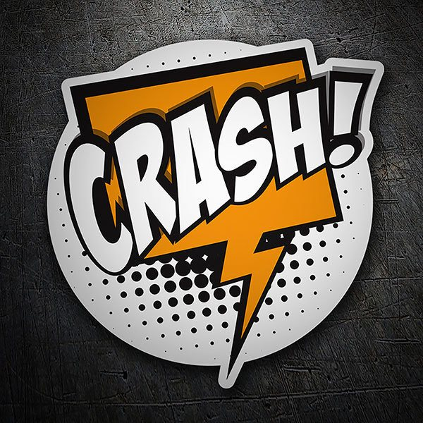 Car & Motorbike Stickers: CRASH! white