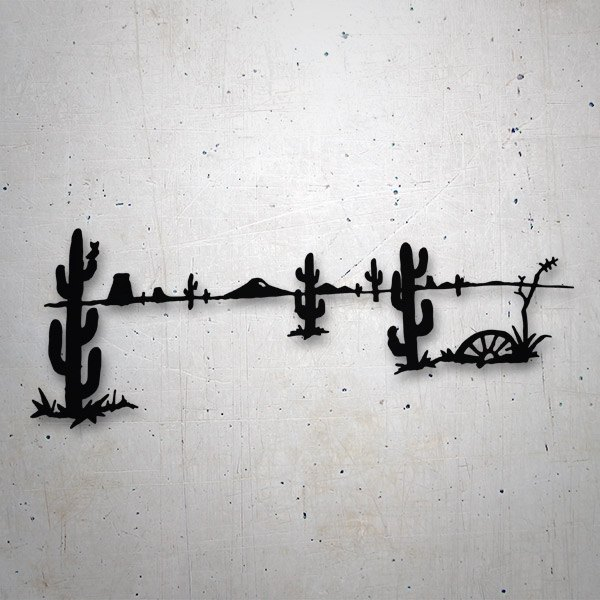 Car and Motorbike Stickers: Desert with cactus