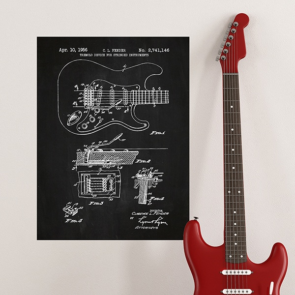 Wall Stickers: Fender Stratocaster guitar chalkboard 1