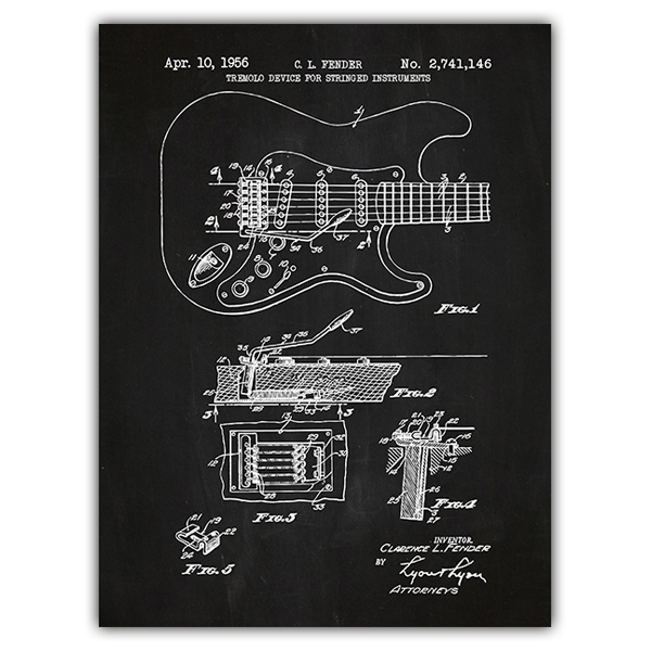 Wall Stickers: Fender Stratocaster guitar chalkboard