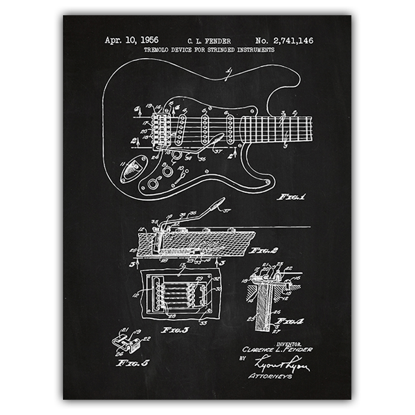 Wall Stickers: Fender Stratocaster guitar chalkboard 0