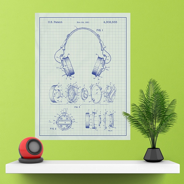 Wall Stickers: Headphones white background